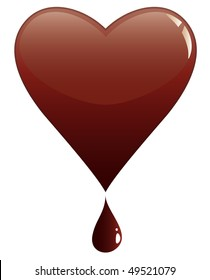 vector melting heart of chocolate