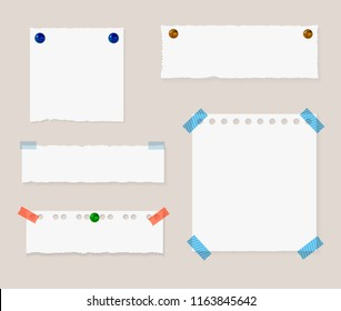 Vector Memo Pinned Papers, Isolated Design Elements Set with Shadown and Realistic Pin Buttons.