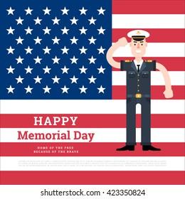 Vector memorial day card. Marine veteran. Patriotic flag