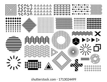 Vector memphis, set of abstract geometric shapes, ornamental shapes, waves, seamless patterns, geometric shapes, design elements, in black color isolated on white background