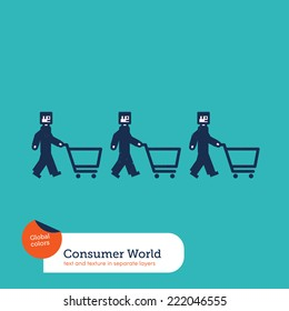 Vector men chain with shopping caddies. Vector illustration Eps10 file. Global colors. Text and Texture in separate layers.