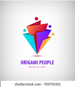 Vector men group logo, human, family, teamwork icon. Community, people sign in modern style, origami 3d. Colorful, 4 person