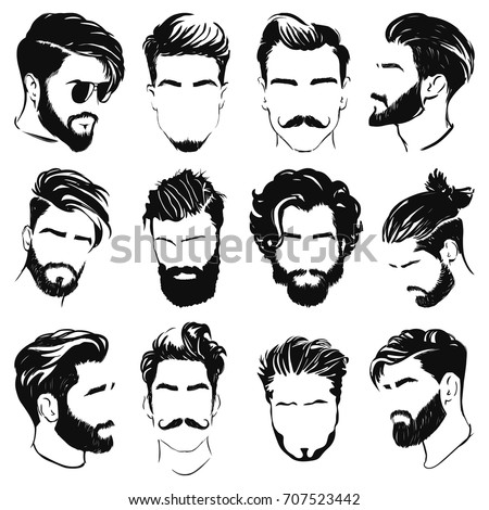 vector hair style stock vector hairstyle silhouettes 스톡 벡터 사용료 없음 707523442 6515 | vector men hairstyle silhouettes 450w 707523442