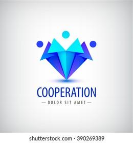 vector men, human logos, icons. Family, team, people logos, leadership business logos, cooperation