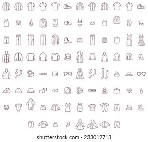 Vector men, women and baby clothes icon set