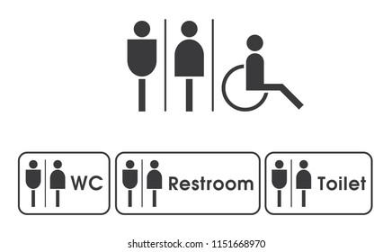 Vector men women disabled restroom signage set.