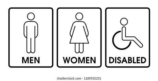 Vector men and women disabled restroom signage set.