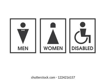 Vector men and women disabled restroom signage set.