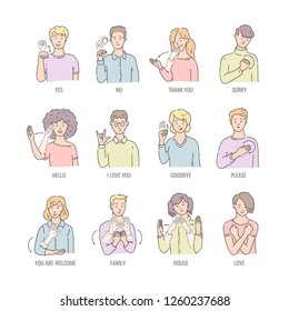 Vector men, women showing basic deaf-mute sign language symbol. Smiling sketch female, male character and hand communication sign set. Different social communication, basic word