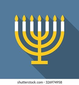 Vector menorah for Hanukkah, flat design