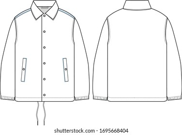 vector mens coach jacket, flat sketch