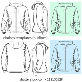 Vector. Men's hooded sweatshirt with zipper and pockets (back, front and side view). Outlines