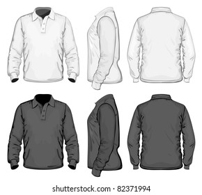 Vector. Men's polo-shirt design template (front, back and side view). Long sleeve. No mesh.