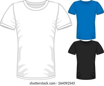 Vector Mens short sleeve t-shirt design templates in three colors