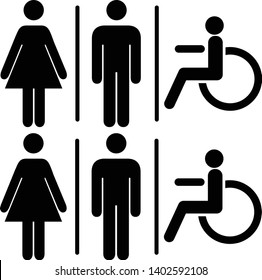 Vector mens and womens disabled restroom signage set - man, womam printable restroom symbol, toilette signs. black silhouettes of people