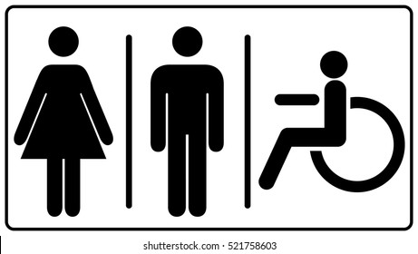 Vector mens and womens disabled restroom signage set - man, womam printable restroom symbol, toilette signs. black silhouettes of people. Vector illustration