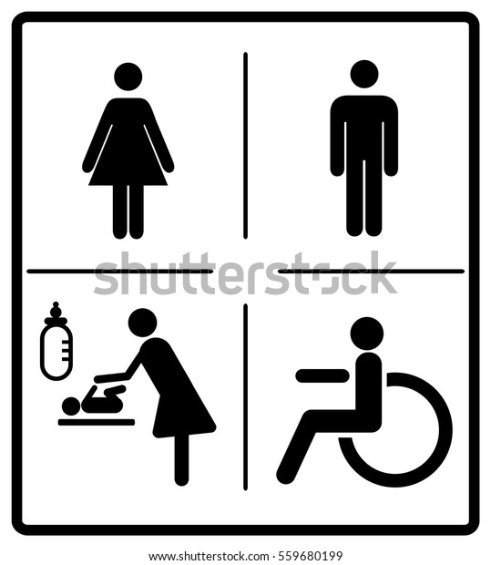 picture relating to Printable Handicap Signs titled Vector Mens Womens Disabled Restroom Signage Inventory Vector