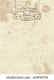 Vector menu for coffee house. Abstract background with texture of the manuscript and stains from cups, text and street pointer hanging on chains