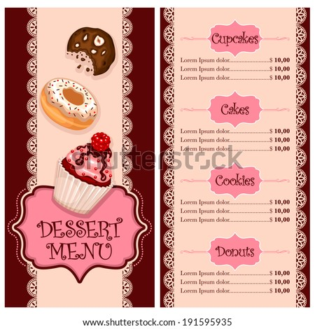 Vector Menu Design Cake House Bakery Stock Vector Royalty Free