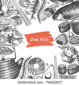 Vector menu design with ink hand drawn sushi illustration. Vintage template with traditional asian food sketch. Seafood frame on white background.