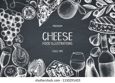 Vector menu design with italian food and drinks sketches. Hand drawn restaurant menu illustration. Vintage cheese, vegetables, wine background. Dairy products vintage template on chalkboard