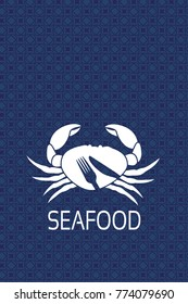Vector menu label with silhouette of crab and symbol of knife, fork. Seafood symbols on blue background for produkt design or menu restaurant. Retro texture.