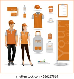 Vector menu, package, t-shirt, cap, uniform design/ layout set of corporate identity mock up template.