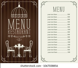 Vector menu for restaurant or cafe with a price list and a table for two, chairs and tea in a figured frame with curls in the art Deco style