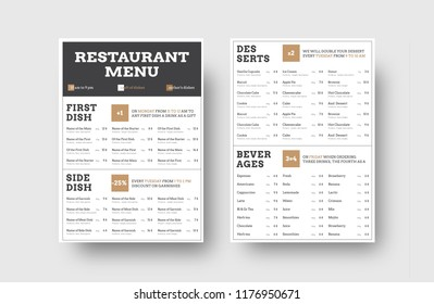 vector menu template for cafes or restaurants with division into blocks for information. Design with black lines and square elements.