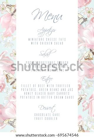 Vector Menu Template Pink Tulip Flowers Stock Vector Royalty Free
