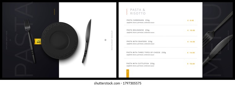 Vector menu template for restaurant and cafe. Menu cover design in black and white with fork and plate knife background. Modern restaurant fucking booklet brochure design