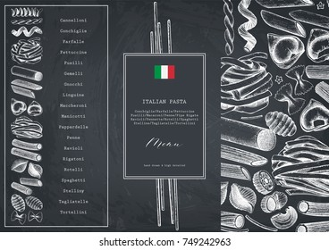 Vector menu template with traditional Italian pasta. Hand drawn food sketch.  Vintage card or invitation design for cafe or restaurant design. Outlines on chalkboard