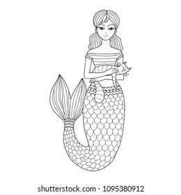 Vector mermaid with a cat illustration, perfect for the coloring page or book for kids and adults. Fairy tale creature.