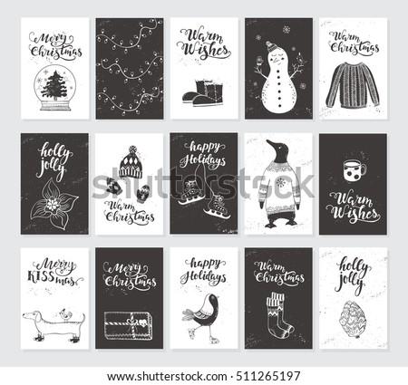 Vector Merry Christmas Black White Greeting Stockvector Rechtenvrij