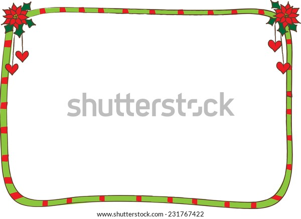 Christmas Card Border.Vector Merry Christmas Card Border Frame Stock Vector