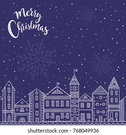 Vector Merry Christmas card with houses in snowy city and night sky with stars. Can be used as a greeting card, placard, banner for Christmas, New Year