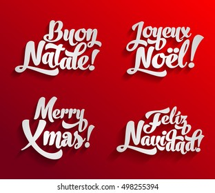 Vector Merry Christmas card logo template set with greetings in spanish, english, french and italian languages. Buon natale. Feliz navidad. Joyeux noel. Merry xmas.