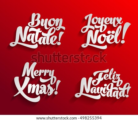 Vector merry christmas card logo template stock vector royalty free vector merry christmas card logo template set with greetings in spanish english french and m4hsunfo