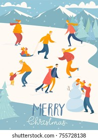 Vector Merry Christmas card with people ice skating, making a snowman, doing winter activities.