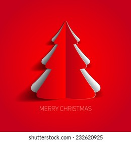 Vector Merry Christmas card with a red minimalistic tree made from paper
