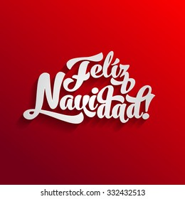 Vector Merry Christmas card template with greetings in spanish language. Feliz navidad