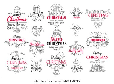 Vector Merry Christmas festive typography set for celebration design. Holidays label, logo, emblems with lettering design for greeting cards, gifts etc.