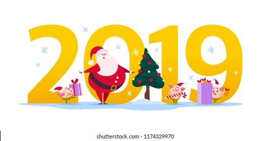 Vector Merry Christmas flat illustration with 2019 number, Santa Claus character, fir tree and happy little pig elf in santa hat isolated on white background. New Year season web banner, advertisement