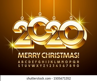 Vector Merry Christmas Greeting Card with Golden Toys 2020. Chic elegant Font. Elite Alphabet Letters and Numbers