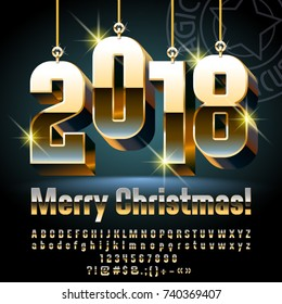 Vector Merry Christmas Greeting Card with Golden shine Toys 2018. Chic Alphabet Letters, Numbers, Symbols. Luxury Font contains Graphic Style