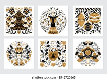 Vector Merry Christmas greeting cards and invitation isolated on background. Set with scandinavian ornaments,  xmas tree, gift and deer, bird, mug, clock, hand drawn designs. Vector elements for Xmas