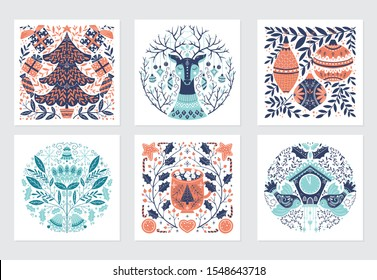 Vector Merry Christmas greeting cards and invitations isolated on background. Set with scandinavian ornaments, xmas tree, gift and deer, bird, mug, clock, hand drawn designs. Vector elements for Xmas
