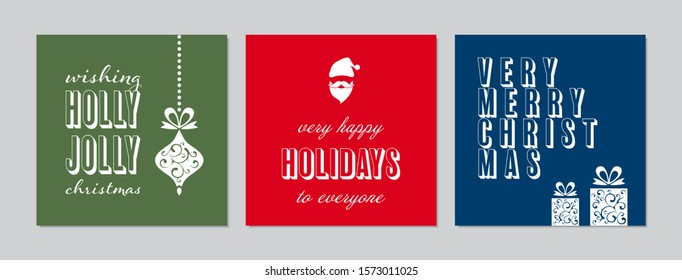 Vector Merry Christmas greeting cards and invitations. Happy New Year, Merry Christmas. Happy Holidays greeting cards - Xmas cards templates