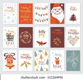 Vector Merry Christmas greeting cards and invitations  isolated on background. Big set with cute xmas tree, Santa, gift and garland hand drawn designs. Vector elements for Xmas design.