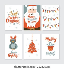 Vector Merry Christmas greeting cards and invitations isolated on background. Big set with cute xmas tree, Santa, gift, owl and garland hand drawn designs.Holiday lettering for Xmas design.